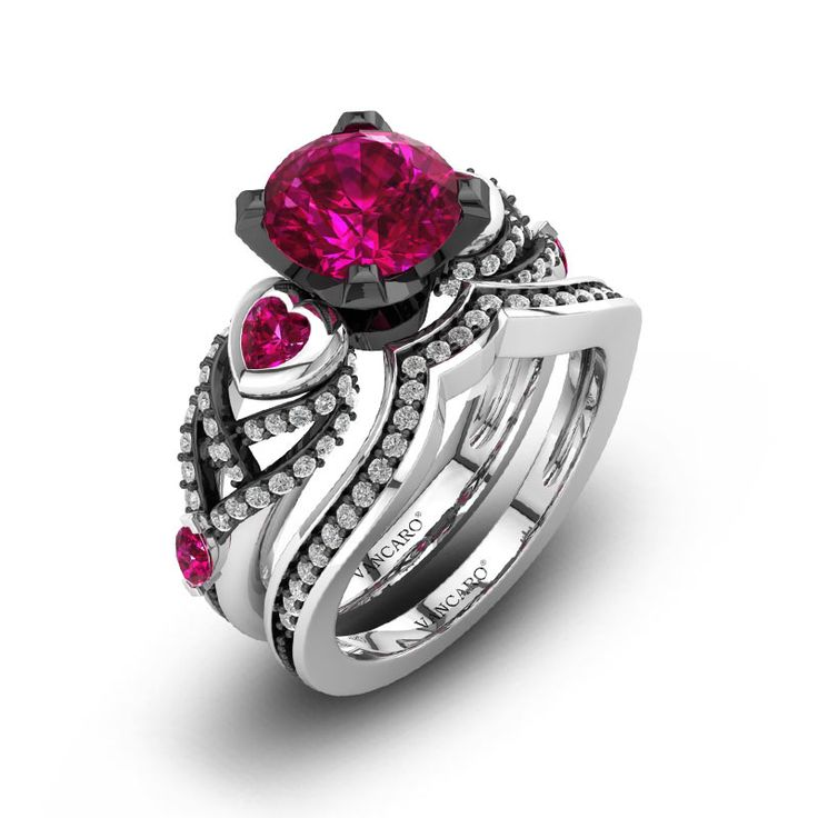 Two Tone Black and White Gold Bridal Set with White Cubic Zirconia and Synthetic Ruby