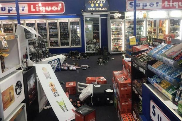 Damage to a liquor store following the 5.7 earthquake