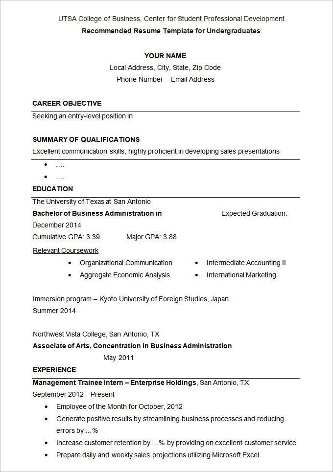 Resume Templates University Student Student Resume Template Student Resume College Application Resume