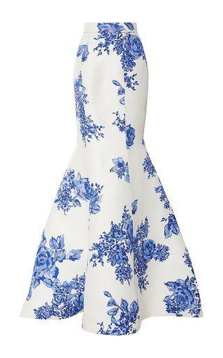 Rose print trumpet skirt by MONIQUE LHUILLIER for Preorder on Moda Operandi