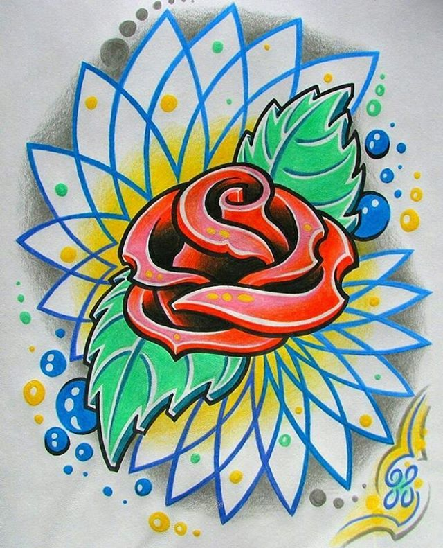 New school tattoo art - rose and mandala #rose #roses #tattoo #tattoos #drawing #draw #art #artwork #artist #colors #colours #new#world #earth #flowers #flower #leaf #bubbles #happybirthday #please #gift #present #now #done #yeah #yes #nature#wild