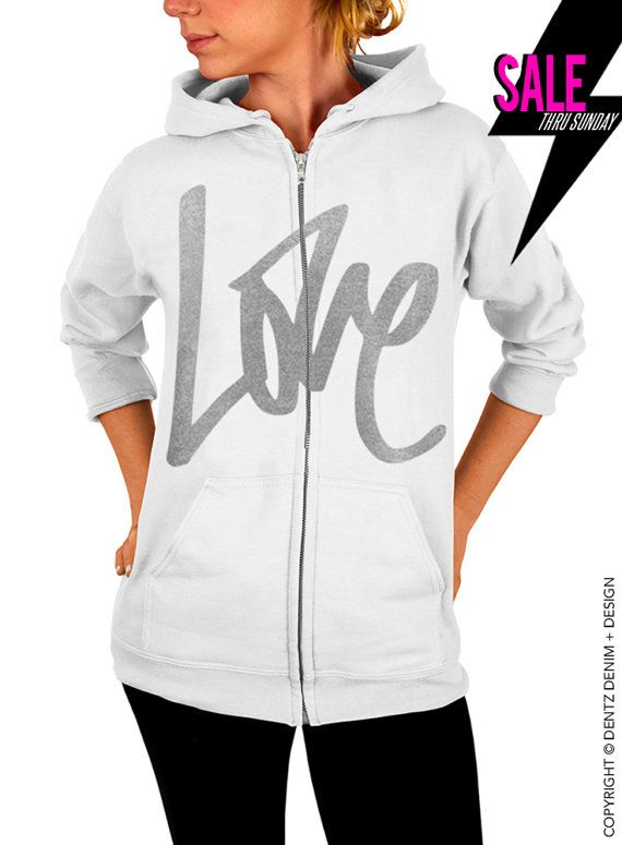 """Use coupon code """"pinterest"""" Graffiti Love - Valentine's Day - White with Silver Zip Up Hoodie by DentzDenim"""