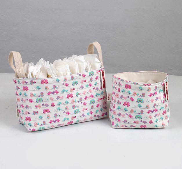 Complementos para cambiador - SUPER oferta - 2 Cestas para bebé canastilla - hecho a mano por KUKUI en DaWanda