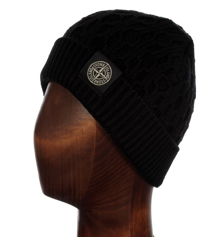 Stone Island Caps & hats. Stone Island Black Cable Knit Beanie Hat