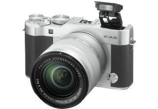 FUJIFILM X-A 3 Systemkamera, 24.2 Megapixel, 3x opt. Zoom, APS-C CMOS Sensor, Externer Blitzschuh, WLAN, 16-50 mm Objektiv, Autofokus, Bildstabilisator, Touchscreen, Silber