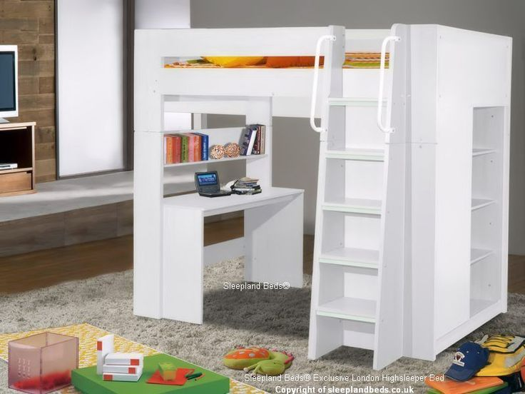 Details About High Sleeper Bed With Desk Storage