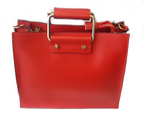Borsa-in-vera-pelle-rossa-bag-tracolla-red-genuine-leather-Woman-donna-borse