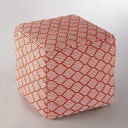 Pouf carré motif reliéfé, AMIEL