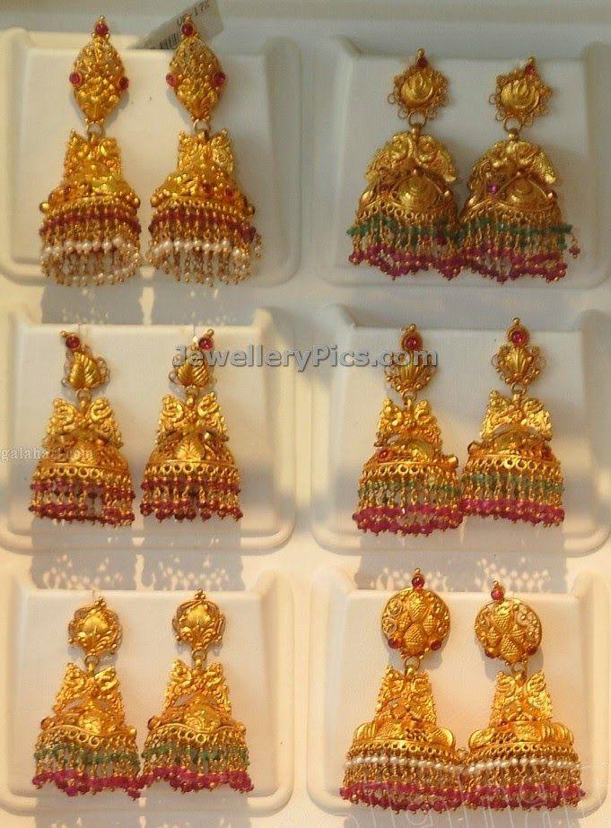 gold earrings buttalu models - Google Search