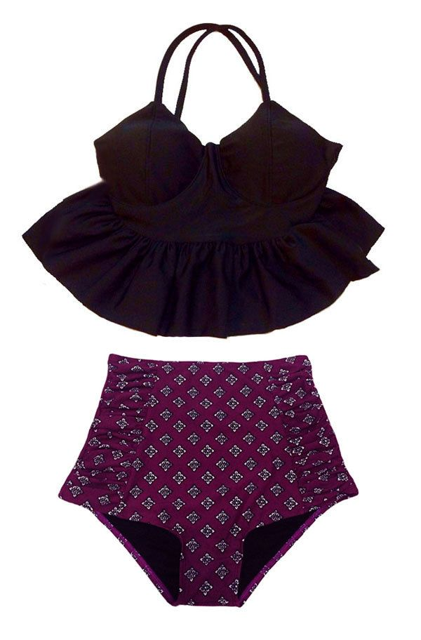 Black Long Peplum Top and Burgundy High waisted waist High-waisted High-waist Bottom Swimsuit Bikini Bathing suit wear Swim piece pieces S M by venderstore on Etsy