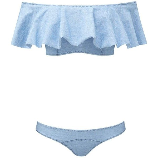 Lisa Marie Fernandez Mira Denim Bandeau Bikini ($240) ❤ liked on Polyvore featuring swimwear, bikinis, bikini, bathing suits, swim, beach, all swim, kirna zabete, bandeau tops and beach bikini