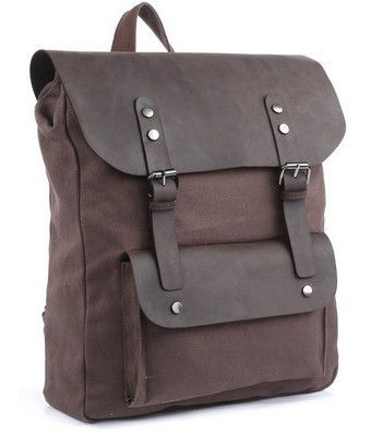 Vintage Casual Canvas Leather Travel Student Backpack #canvasbackpack #canvasleatherbag