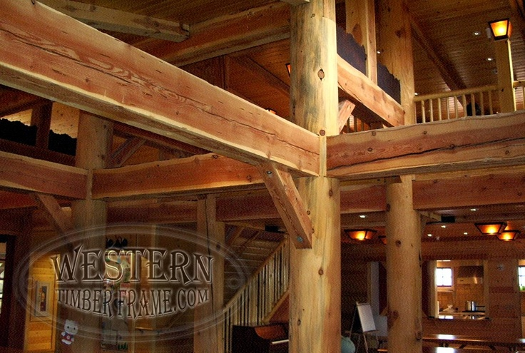 Log Cabin With Timber Trusses Supported By Posts And Beams