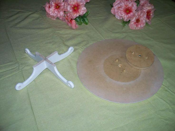 base giratoria para tortas 2 en 1 de 40cm en mdf 15mm