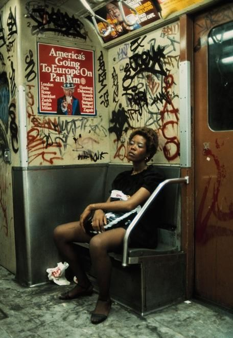 Subway rider on Lexington Avenue Line  (New York City, 1983) by Thomas Hoepker