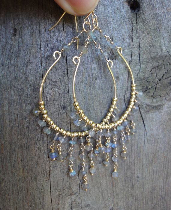 Gold Chandelier Earrings with Labradorite Beads - Boho Chic Earrings.    via Etsy.