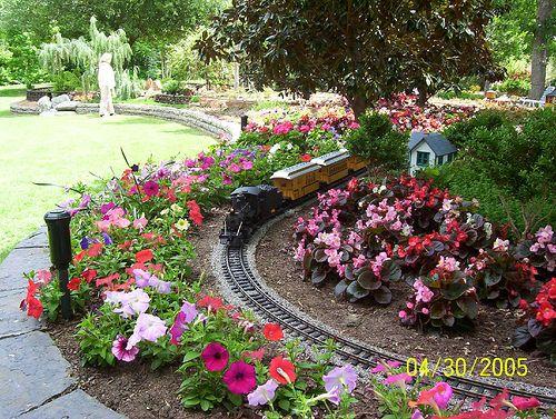 Train running through the garden