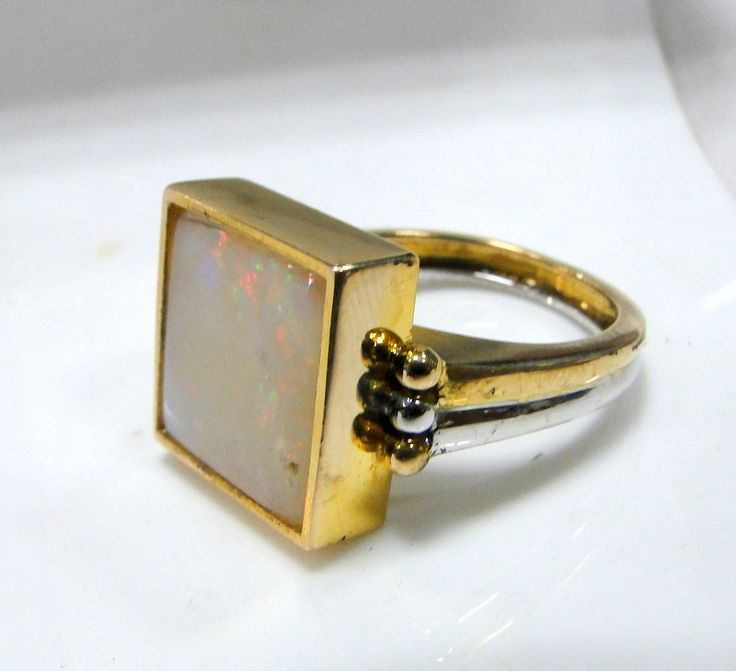 vintage Art deco 18 K solid gold natural square Opal ring jewelry - tribalexport