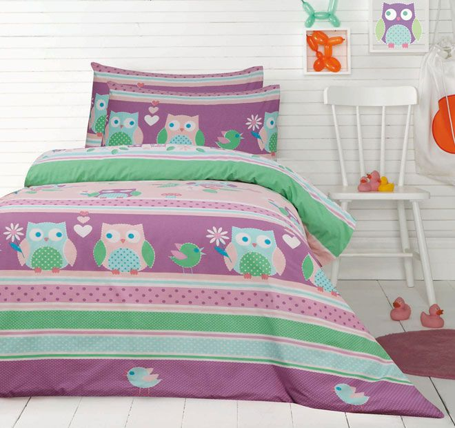 Ardor For Kids Night Owls Quilt Cover Set Range Purple