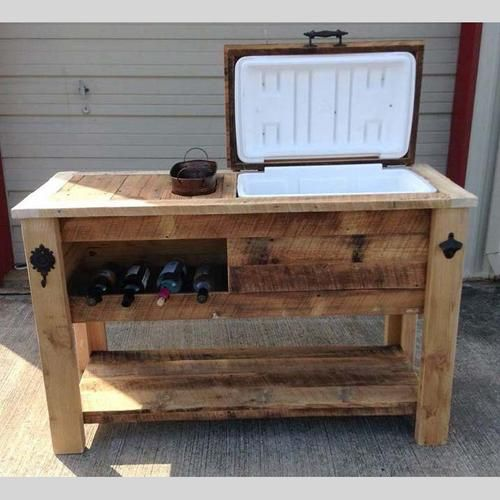 Barn Wood Cooler Table Outdoor Bar Cart Serving
