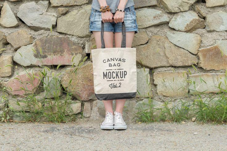Anzeige: Canvas Tote Bag Mockups Pack Vol. 2 von Bulbfish im Kreativmarkt. Leinwand T …