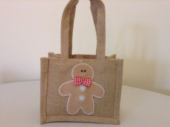 Gorgeous Gingerbread Man Decorated Jute Gift Bag by BellaandRoo
