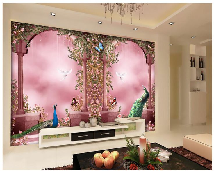 3d room wallpaper Home Decoration Romantic peacock European style arch 3d nature wallpapers  #Affiliate