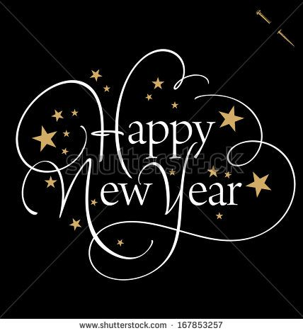 HAPPY NEW YEAR hand lettering, vector (eps8) - stock vector