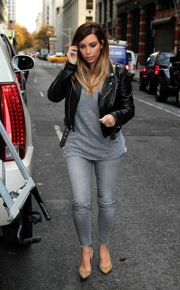 loving Kim's simple street style // grey jeans, moto-jacket, and nude points