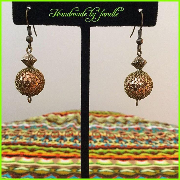 Bronze Net Ball Bead Drop Earrings Handmade New http://stores.ebay.com.au/Handmade-by-Janelle?_rdc=1