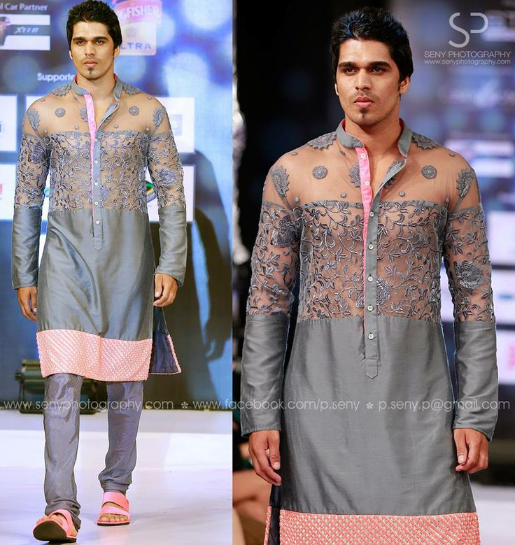 grey n pink kurtha. by sagar tenali.
