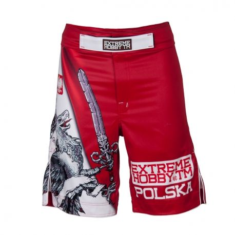 Grappling shorts EAGLE. Color: red. Extreme Hobby shorts is a new design of MMA oriented fightwear. Innovative lacing system provide a perfect and firm fit while sewn in the crotch strech panel and leg cuts ensure unlimited range of motion and unmatched comfort. Special Waistband prevents shorts from slipping during fight.  Reinforced seams for greater durability.