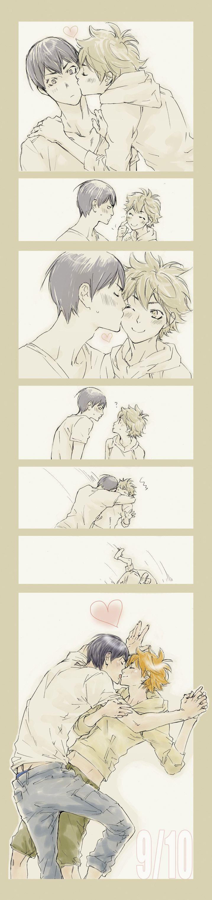 """Read manga online! - ReadManga.me---  """"Chu~ Kageyama! Kiss me too~"""" They're too cute~  Haikyuu!! :: Kageyama x Hinata"""