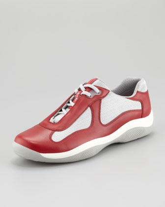 orange prada shoes - America\\\u0026#39;s Cup Sneaker, Red/Silver by Prada at Neiman Marcus ...