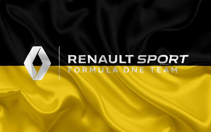 Download wallpapers Renault Sport, Formula One Team, 4k, racing team, Formula 1, logo, F1, silk flag, motorsport, France
