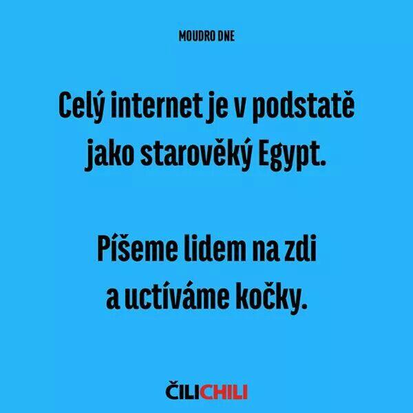 Celý internet je v podstatě jako starověký Egypt. Píšeme lidem na zdi a uctíváme kočky.