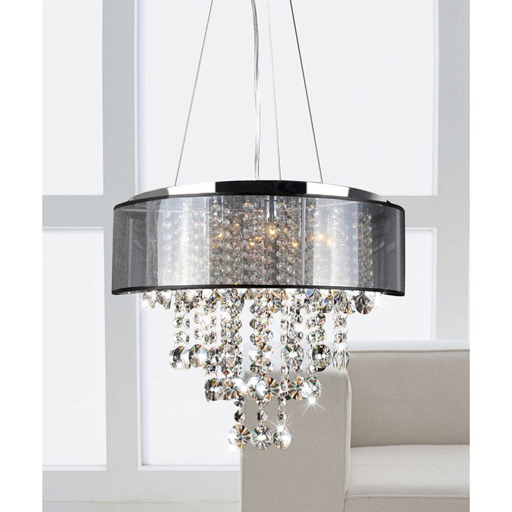 This stunning modern crystal chandelier makes an elegant highlight for any dining room or hall. Beautifully crafted and featuring a chrome finish with translucent black shade, this chandelier provides soft lighting and a stylish decorative accent.