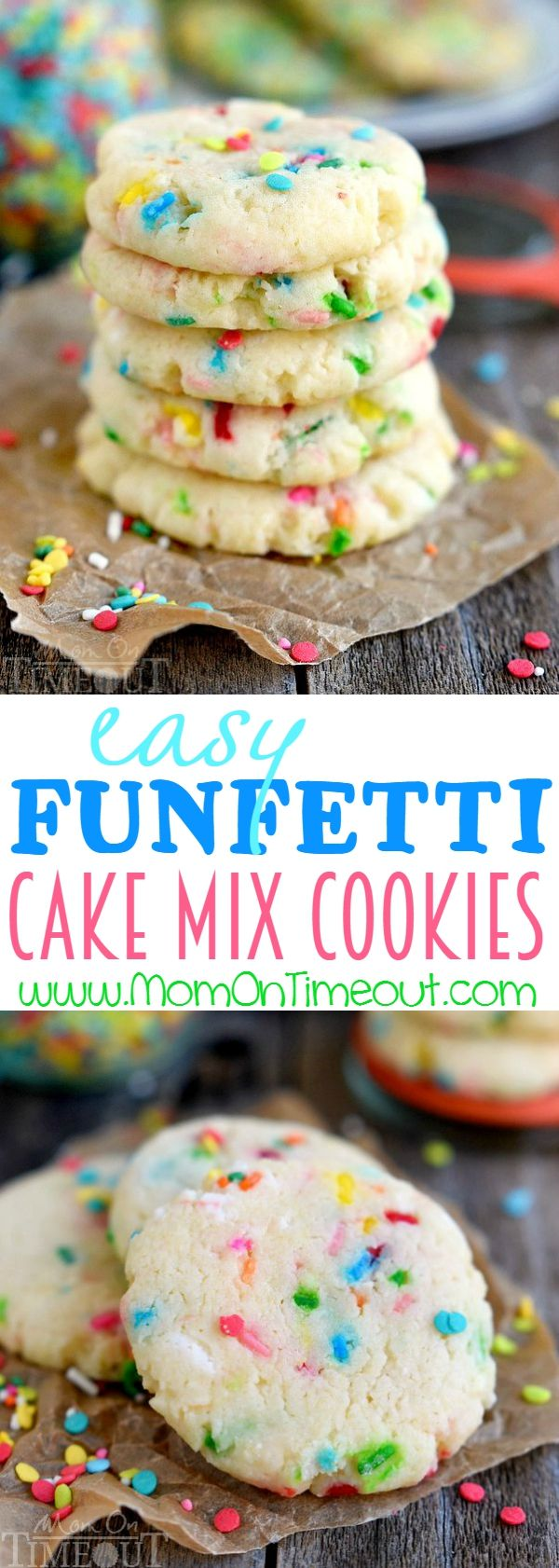 Easy Funfetti Cake Mix Cookies! Perfect for birthdays, picnics, parties and more, these cookies are so easy to make and wonderfully delicious! Made with cream cheese for an extra moist and delightful cookie recipe! | MomOnTimeout.com | #cookie #recipe