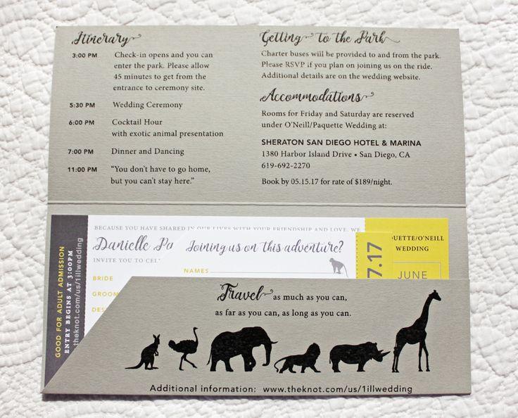 Gray & Yellow Animal Silhouette Modern Zoo Ticket Wedding Invitations