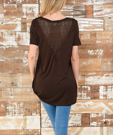 Another great find on #zulily! Brown Diamond Lace Scoop Neck Tee #zulilyfinds - Small