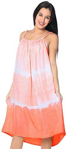 La Leela Tie Dye Rayon Beach Swimwear Summer Casual Evening Dress Cover Up Peach. HANDMADE TIE DYE - EACH PRODUCT IS UNIQUE AND DESIGNED INDIVIDUALLY BY ARISTAN. US Size : From Regular 14 (L) TO Plus Size 18W (2X) UK SIZE : FROM REGULAR 14 (M) TO 22 (XL) BUST : 46 Inches [ 116 cms ] Length : 44 Inches [ 111 cms ]. FABRIC CARE - Delicate Hand Wash /Can Be Easily Taken Care of. Soft Rayon - LIGHTWEIGHT Smooth Gentle RAYON Fabric Good For LIGHT TRAVEL,Wears Quite Well. VARIATIONS ARE…