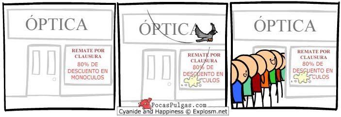Tira cómica de Cyanide & Happiness en español: Saber qué es lo que realmente quiere la gente es la clave para hacerse con una buena cantidad de ventas..