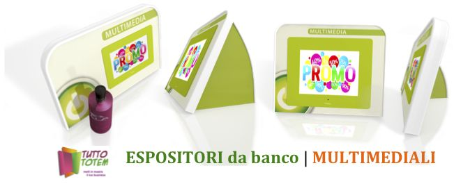 Espositori da banco Multimediale, fatto di materiale ecocompatibile, con Display Digital Frame.
