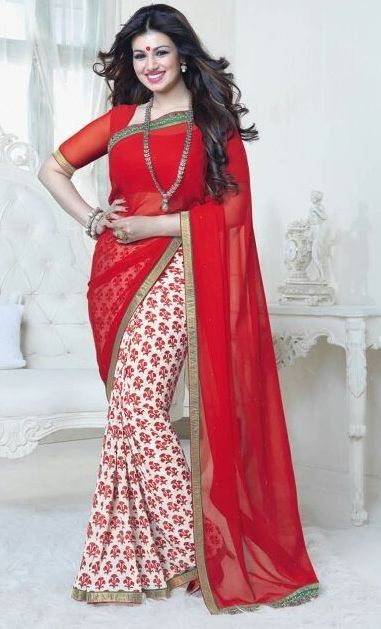Aayesha Takia Elegant Red  Georgette Printed Karva Chauth Saree