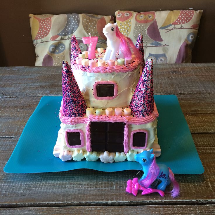 Little girls pony castle birthday cake
