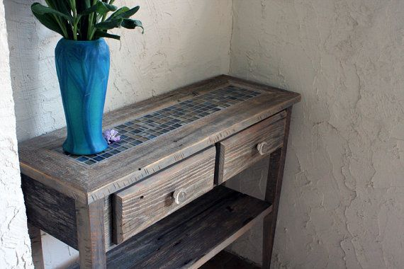 Small Sofa / Entry Table Gray Reclaimed by natureinspiredcrafts