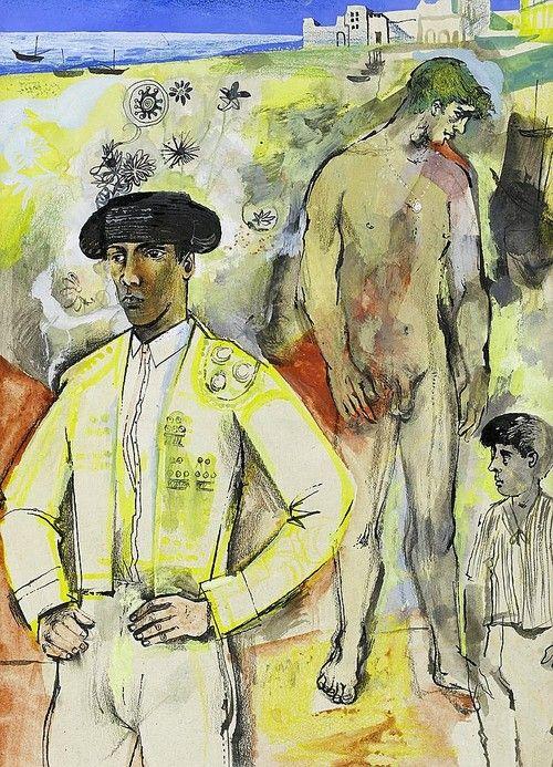 John Minton (English, 1917-1957),Kevin Maybury and Spanish boy. Pen, ink, gouache and crayon, 37.3 x 27.31 x 60;cm.