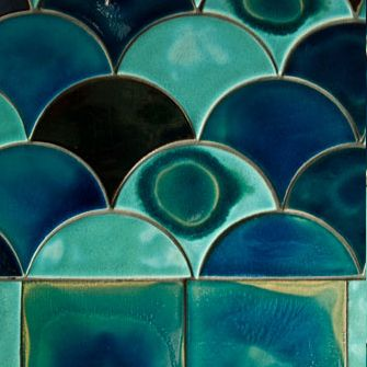 Scallops. Squares. Tiles. Organic looking color. Turquoise.