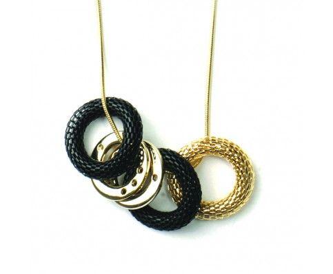Multi Ring Necklace (Black)