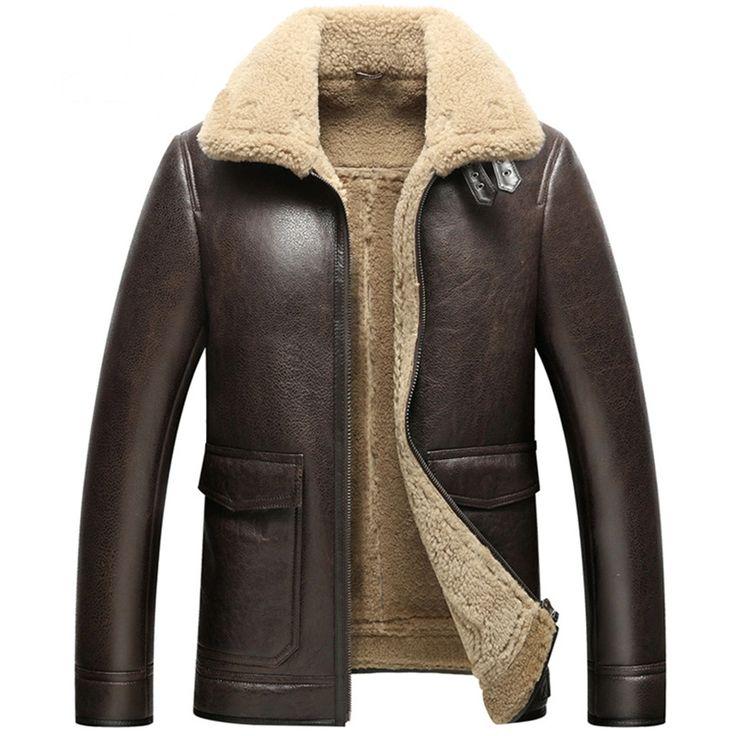 $479.2    Leather Jacket Man Luxury Men's Shearling Coat Motorcycle Outerwear Aviator Fur Coat Flight Jacket